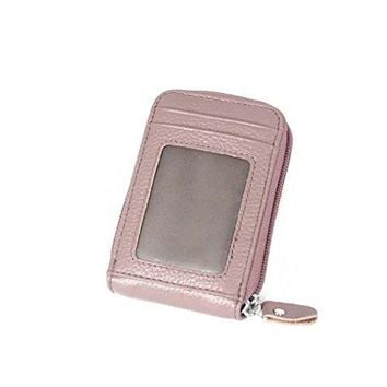 RFID Blocking Leather Wallet for WomenExcellent Womens Genuine Leather Credit Card HolderZipper Credit Card Wallets