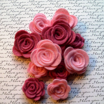 Set of 12 pink and mulberry rolled wool felt roses, felt rose, die cut, embellishment and scrapbooking, applique, supply, handmade