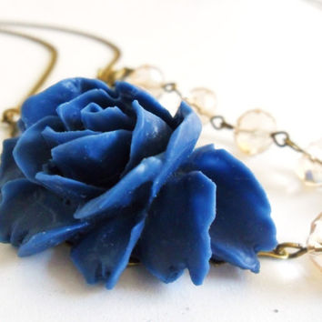 Deep Blue Rose Necklace, Flower Necklace, with Palest Peach Crystal and antique bronze chain -  retro vintage Pin Up style