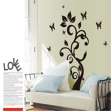 The new Black butterfly rattan flower sitting room bedroom home decoration wall stick mobile stick on the wall SM6