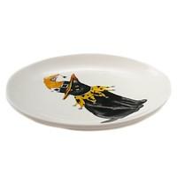 Tabletop HALLOWEEN ACCENT PLATE Stoneware Black Cat Spider Cobweb Hx1758a Witch