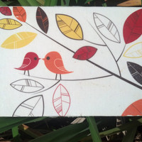 Autumn Love Birds Canvas Wall Art - canvas art piece, canvas panel, Fall decor, Fall decorations, home decor, inexpensive art, handmade art