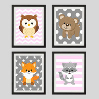 Pink Gray Woodland Animals CUSTOMIZE YOUR COLORS, 8x10 Prints, set of 4, nursery decor, Fox Owl Raccon Bear Chevron nursery print baby decor