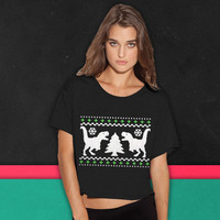 Funny Ugly Christmas T-Rex Sweater boxy tee