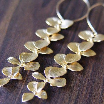 Orchid Flower Earrings Elongated - 14k Gold Filled