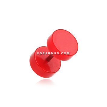 A Pair of Solid Acrylic Fake Gauge Plug Earring (Red)
