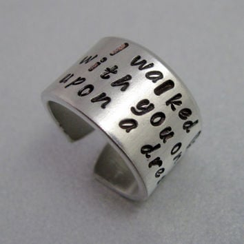 Sleeping Beauty Ring - Once Upon a Dream- Hand Stamped Aluminum Ring - Customizable