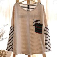Fashion Women's Round Neck Tribal Pocket Striped Long Sleeves Top Shirt Blouse