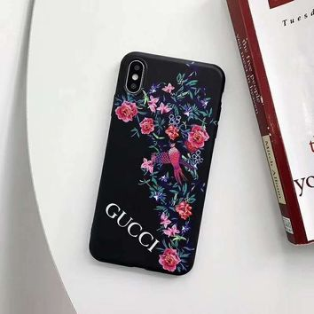 GUCCI new tide brand flower iPhone7plus mobile phone case cover black
