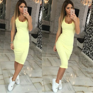 Sleeveless Body-con Midi Dres