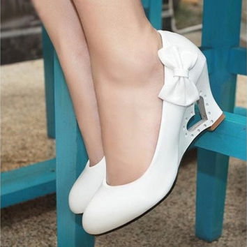 New fashion Women Wedding High Heels 2015 Cute Bowtie Heart Hollow Out Wedges Heel Pumps Shoes [7981743431]