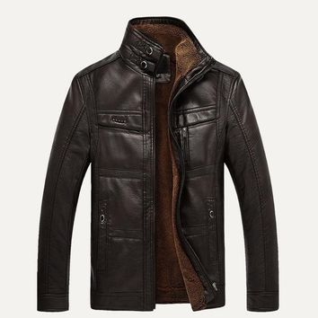 Men's Motorcycle Leather Jackets Warm Thick Winter Coats Zipper Stand Collar Outerwear M-3XL