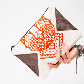 APRIL SALE Geometrical Illusion Printed  Leather Pouch  by CORIUMI