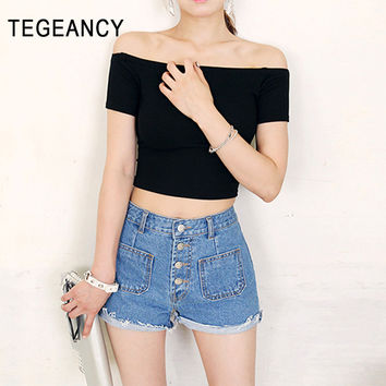 TEGEANCY Sexy Off Shoulder T Shirt Women Large Size Bare Shoulder Midriff Tops Crop Top Tshirt Female Short Black Cotton Tee