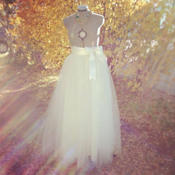 Country/Rustic/Ranch Wedding Floor Length Adult Tulle Tutu Skirt with Satin Ribbon Sash IVory/Cream Vintage Orchard Engagement