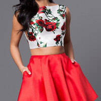 Two Piece Floral Print Bodice Circle Skirt Dress