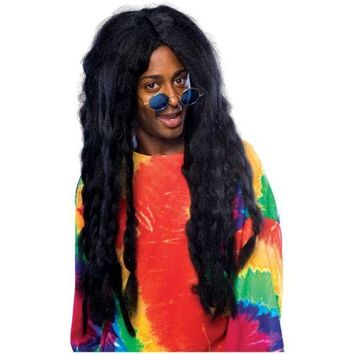 Jamaican Rasta Wig Long Black Dreadlock Braids Costume Accessory Adult Halloween