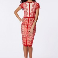 Missguided - Satsuko Red Lace Panel Midi Dress