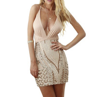Sexy Women Summer 2016 Backless Deep V-Neck Sleeveless Back Strap Cross Geometric Bodycon Sequins Club Wear Bandage Dress LM4494