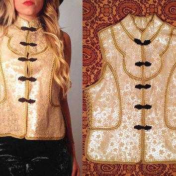 Vintage 1970s Suede Crochet Patchwork Metallic Bohemian Enchanted Vest || Size Small to Medium