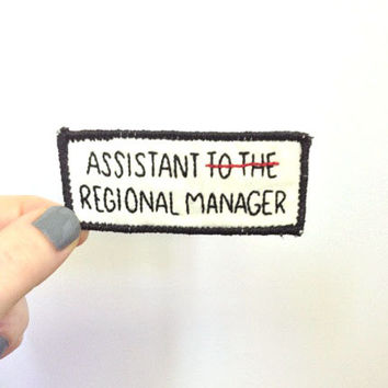 "Hand embroidered ""Assistant to the Regional Manager"" sew on patch - The Office - Dwight Schrute title - tv show, Michael Scott, embroidery"
