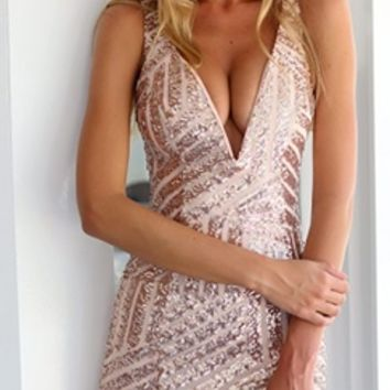 Rose Gold Sleeveless Plunge V Neck Geometric Sequin Bodycon Mini Dress