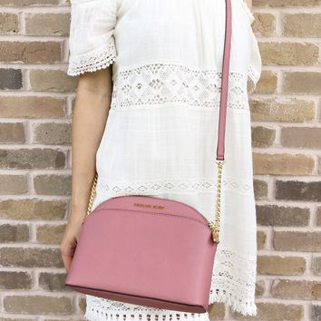 Michael Kors Emmy Small Cindy Dome Crossbody Brown Rose Pink
