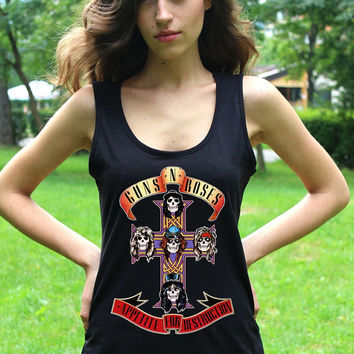 Guns n Roses Tank Guns and Roses Tank Top Appetite for Destruction Guns n Roses Tshirt Slash Women Tops Hard Rock Metal Shirts