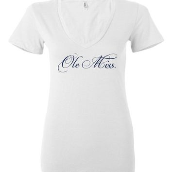 Official NCAA University of Mississippi Rebels Ole Miss Hotty Toddy Ladies Deep V-Neck - OLM01