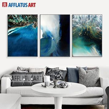 Watercolor Fantastic Sea Sign Wall Art Canvas Painting Nordic Abstract Posters And Prints Wall Pictures For Living Room Decor