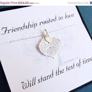 ON SALE Friendship necklace with message card, boxed gift set, leaf jewelry, SILVER Aspen leaf necklace, bridemsaid gifts, autumn wedding
