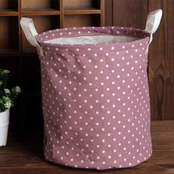 Simple Designed Cotton Linen Clothes Laundry Basket Storage Bag Hamper