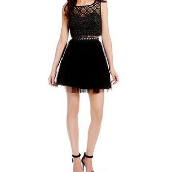Sequin Hearts Lace Top Two-Piece Dress   Dillards