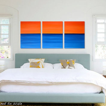 Original Triptych Minimalist Seascape Canvas Acrylic Painting - Orange Sunset, Blue Ocean - California Sun: Large - 36 x 16