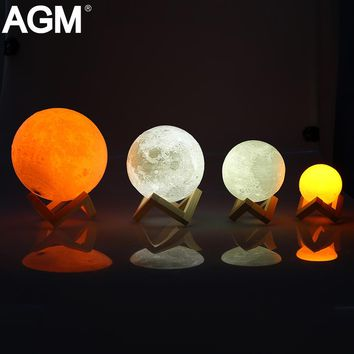 Rechargeable LED Night Light Moon Lamp 3D Print Moonlight Luna Bedroom Home Decor 2 Colors Touch Switch New Year Gift for Baby