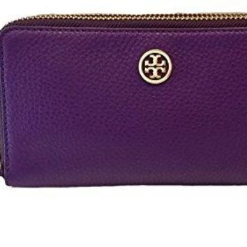 Tory Burch Pebble Leather Robinson Double Zip Continental Wallet