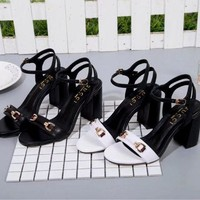 Gucci Sandals Shoes 80mm High Heel Leather Casual Women Slippers