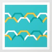 Teal Steps Art Print by spaceandlines