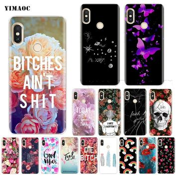 YIMAOC Good Vibes Bitch Flower Words Silicone Case for Xiaomi Redmi Note S2 4 4x 4a 5 5a 6 Pro Plus