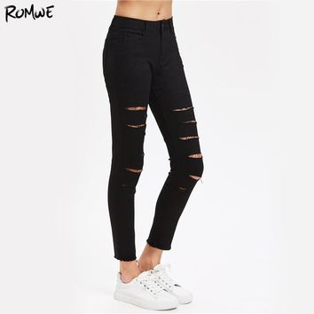 Ripped Skinny Crop Jeans Women Black Zipper Fly Casual Rock Pencil Denim Pants Autumn Mid Waist Brief Slim Jeans