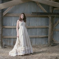 Country Ruffled Upcycled Cotton Wedding Dress by ReveriesofSolace