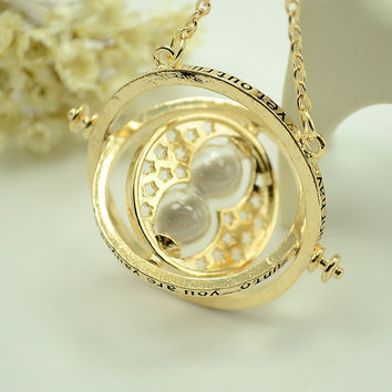 Hot Sale Harry Potter Time Turner Necklace Hermione Granger Rotating Spins Gold Hourglass XL001