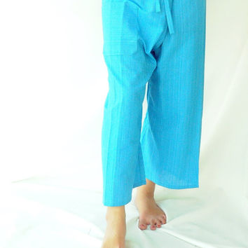 Light Blue Fishermans pants, Yoga , asia pant , bohemian ,Thailand, wrap pants, hippie pant, embroidered, 100% cotton