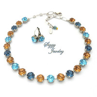 Swarovski® Crystal Necklace, 10mm (45ss) Denim Blue, Aquamarine, Colorado Topaz, Assorted Finishes, Optional Matching Earrings , NAIARA
