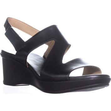 naturalizer Valerie Wedge Sandals, Black, 8.5 US / 38.5 EU