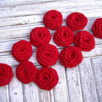 Rustic Burlap Flowers Set of 12 red fabric rosettes Cake topper Burlap roses Wedding decor Flower Ornaments. Bridal Wedding Party Favor