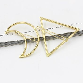 2PCS PC Moon Triangle Design Exquisite Metal Hair Clips Hairpins Hairwear Accessories Women Fashion Jewelry Free shipping