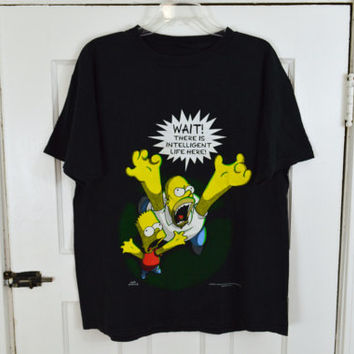 90s Simpsons Shirt Tee LARGE XL Vintage TV Unisex Clothing Men Women 1990s Alien Ufo Black Tshirt Soft Grunge Television