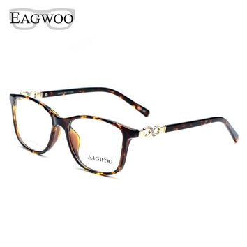 Acetate TR90 Women Female Eyeglasses Full Rim Crystal Optical Frame Prescription Plain Clear Elegant Eye Glasses 22059 Tortoise