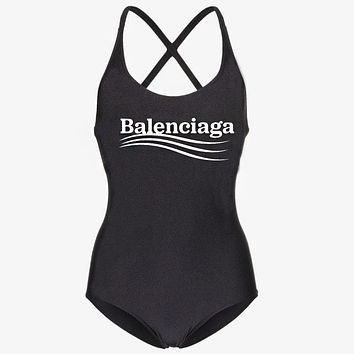 Balenciaga Hot Sale Women Sexy Letter Print One Piece Bikini Swimsuit Bodysuit Black